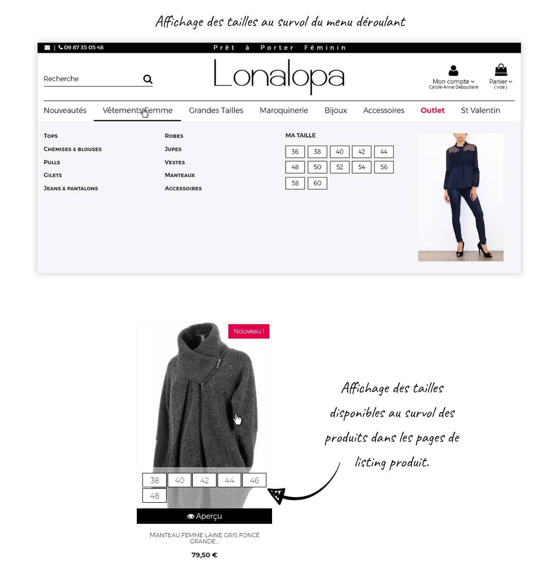 Site e-commerce prêt-à-porter grande taille Lonalopa
