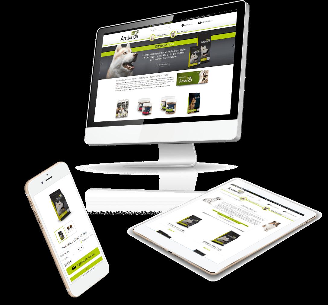 Site e-commerce PrestaShop aliment chien et chat Amikinos