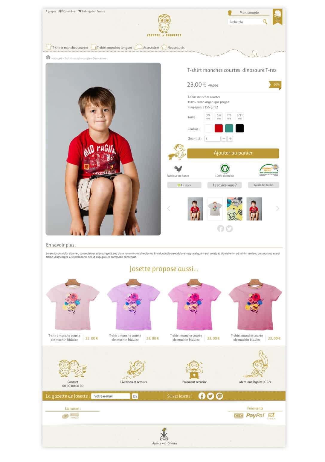 site e-commerce PrestaShop Josette la chouette