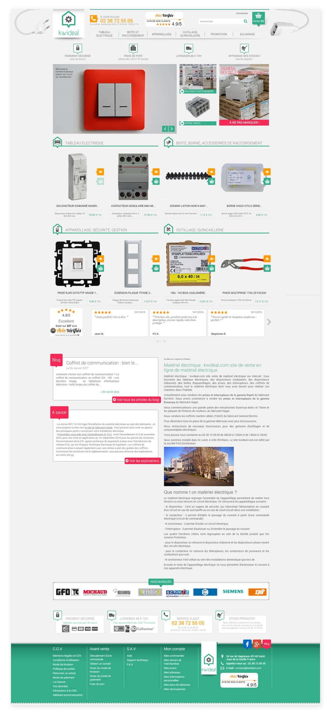 site e-commerce BtoB BtoC matériel électrique