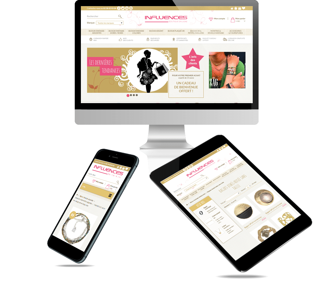 site e-commerce Prestashop bijouterie influence