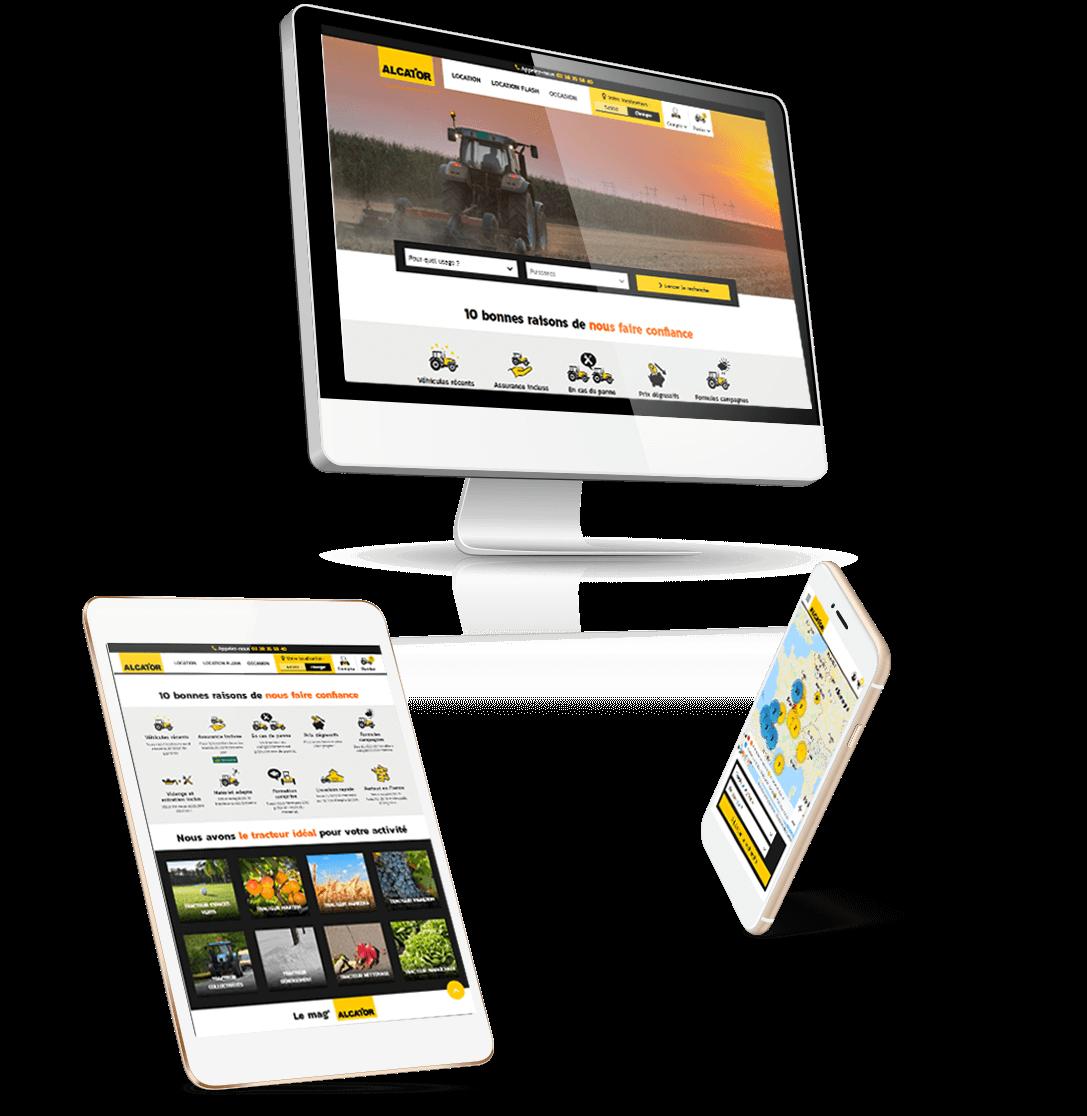 site e-commerce Prestashop location de tracteurs