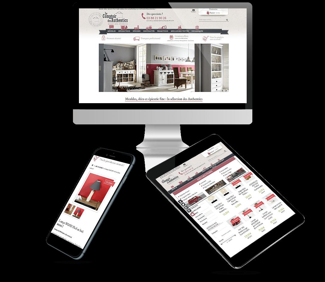 site e-commerce Prestashop meubles, déco, épicerie