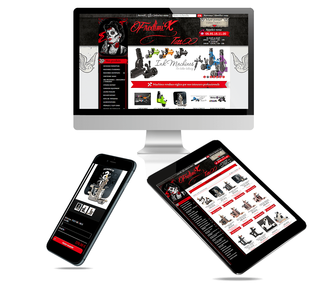 site e-commerce Prestashop fournitures de tatouage