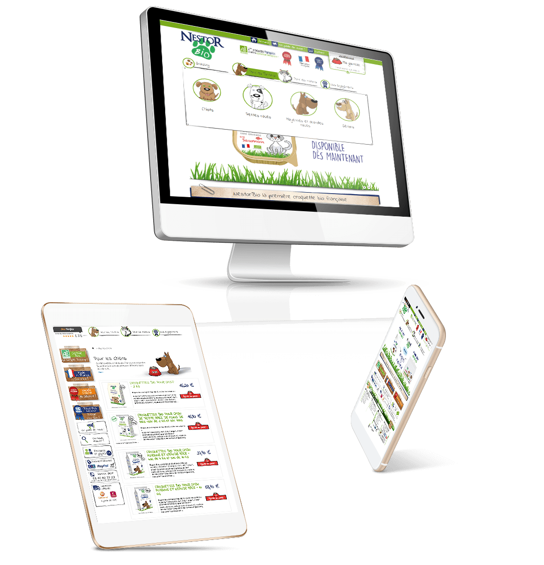 site e-commerce Prestashop croquettes française bio