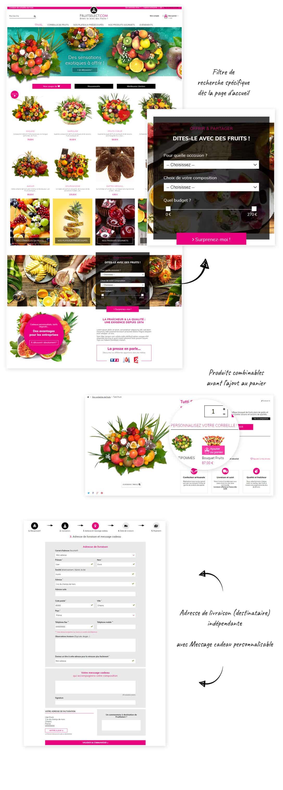 site e-commerce Prestashop corbeilles de fruits cadeaux