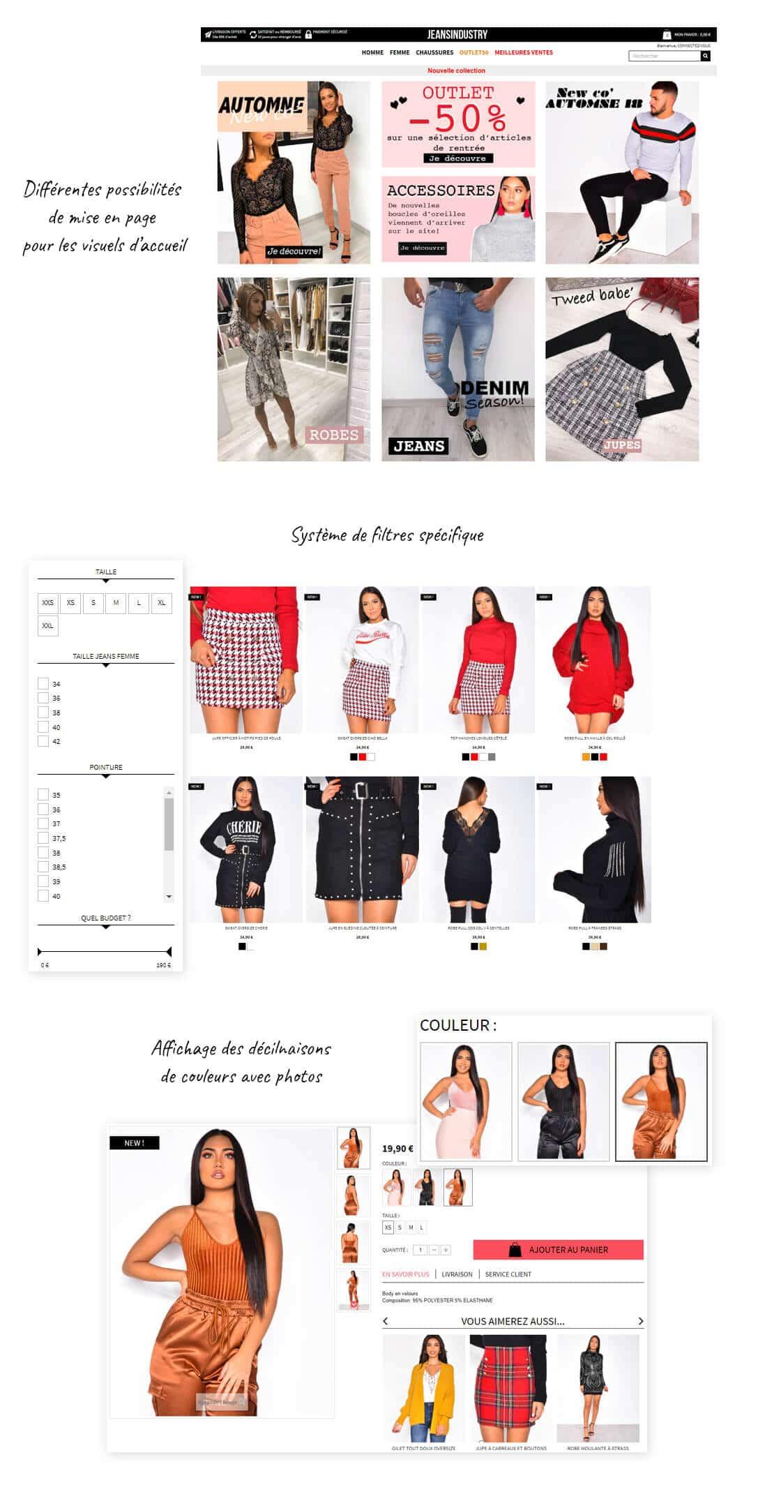 site e-commerce Prestashop vêtements tendance