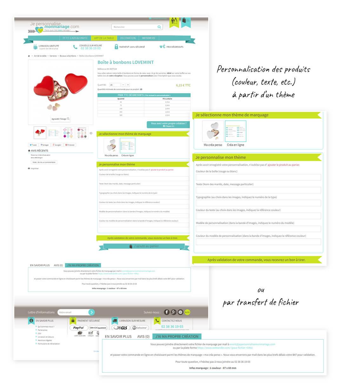 site e-commerce Prestashop de personnalisation d'objets de mariage
