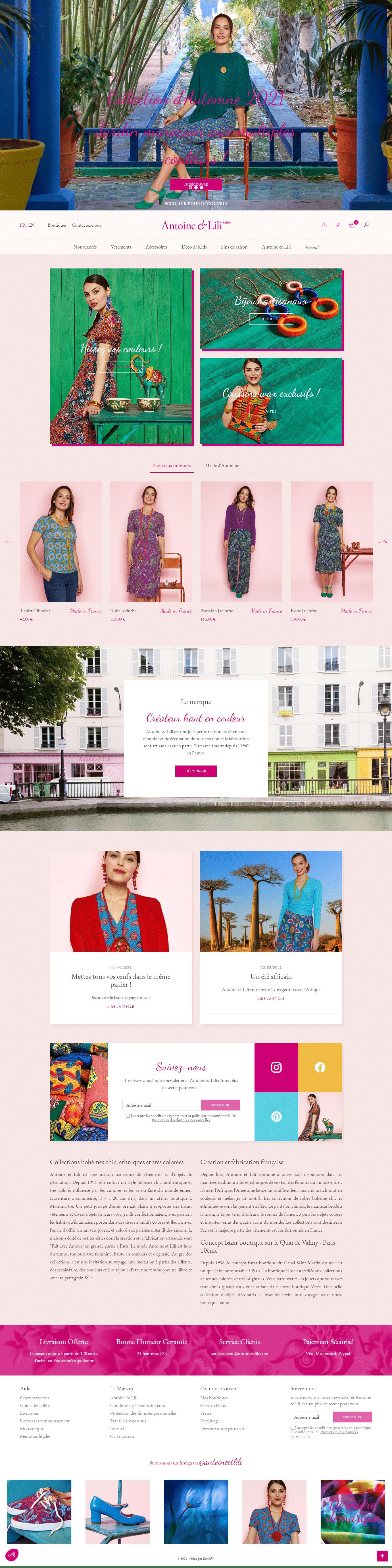 site e-commerce prestashop antoine et lili