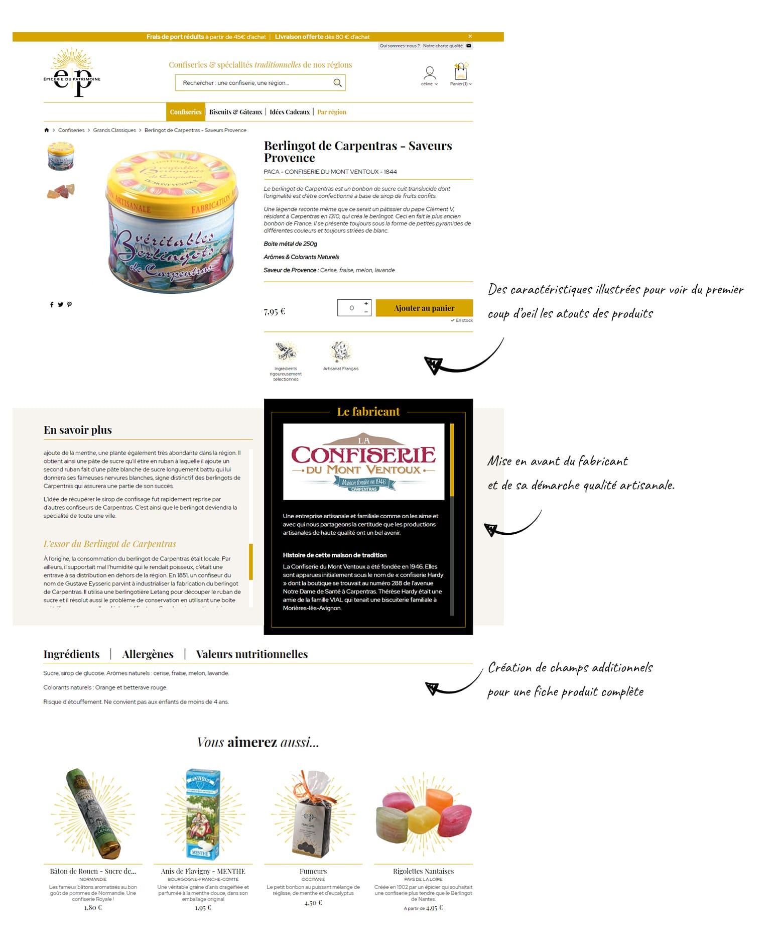 Epicerie du patrimoine, site e-commerce